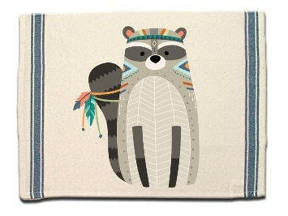 Tribal Raccoon Kitchen Towel, Dish Towel, Tea Towel, Flour Sack Material,Woodland Animals Dish Towels,Flour Sack Kitchen Towel, Dish Cloth