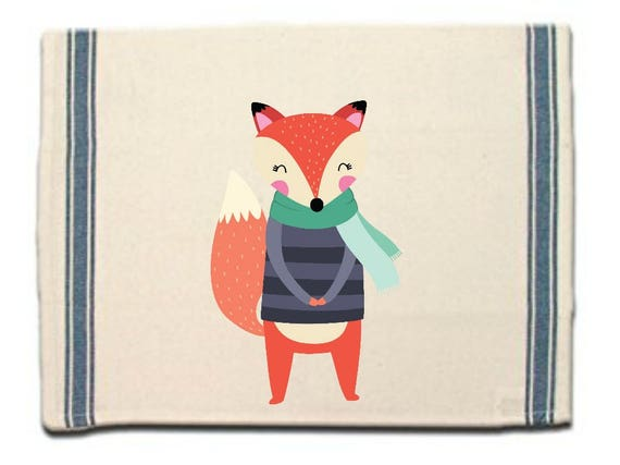 Fox in Sweater Kitchen Towel|Dish Towel| Tea Towel| Flour Sack Material| Woodland Animals Dish Towel| Flour Sack Kitchen Towel|Dish Cloth