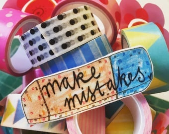 Make Mistakes Illustrated Brooch, Quirky Cute Eraser Pin Badge