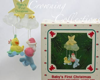 1986 Hallmark Baby's First Christmas Keepsake Ornament Cloud Mobile Boy or Girl Vintage 1st RARE Vintage