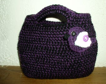 wool bag with bird and button