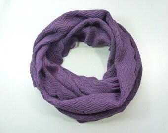 SNOOD 100% cashmere purple neck cashmere snood cashmere openwork Zig Zag heirloom Concept Paris women to provide easy Christmas gift