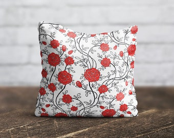 Red Flower PillowCase Floral Throw Pillow Cover Accent Pillow Decorative Silk Pillow Cover Cushion Satin Pillow Toss Her Gift Home Decor