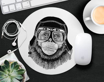 Monkey Mouse Pad Animal in Glasses Mouse Mat Funny Gorilla MousePad Cute Kids Mouse Pad Hipster MouseMat Animal Lover Gift Desk Accessories