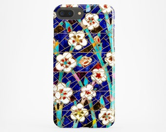 Moroccan Phone Case Blue iPhone X Case iPhone 8 Plus Case iPhone 7 Case iPhone 6 Cover Gold Flower iPhone 4-5 Case Samsung Galaxy S7 S8 Case