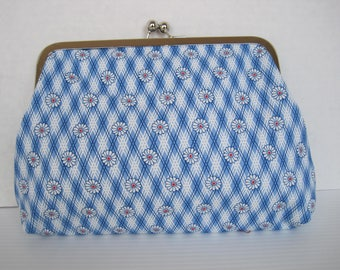 Handbag, Clutch Purse, Blue and White Fabric, Handmade, Women's Accessories, Cotton Print, Evening Bag, Ladies Gift