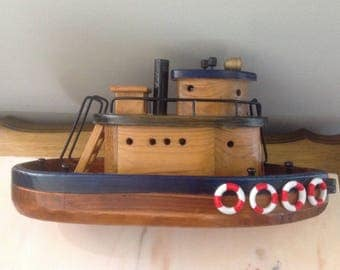 Handmade Vintage Wooden Tugboat, Vintage Tugboat, Vintage Toys, Vintage Toy Boats, Antique Toy Boat, Vintage Cottage Decor, Nautical Decor