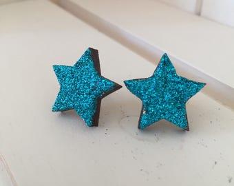 Turquoise Star Earrings, Star Earrings, Turquoise Earrings, Wood Star Earrings, Wooden Earrings, Turquoise Star, Stud Earrings,