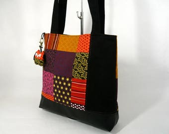 Tote bag in printed patchwork style, shoulder bag, every day bag,