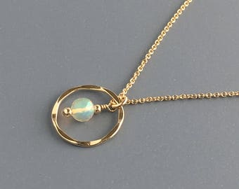 Ethiopian Opal Necklace - Delicate Opal Necklace - Dainty Opal Necklace - October Birthstone Necklace