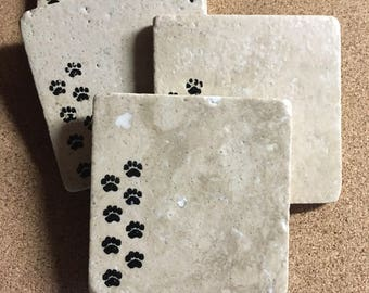 READY TO SHIP* Paw Coasters ~ Cat Coasters ~ Dog Coasters ~ Set of 4 Coasters