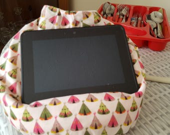 Mini Bean Bag for E-reader or Kindle in Wigwam/Tent Print Cotton