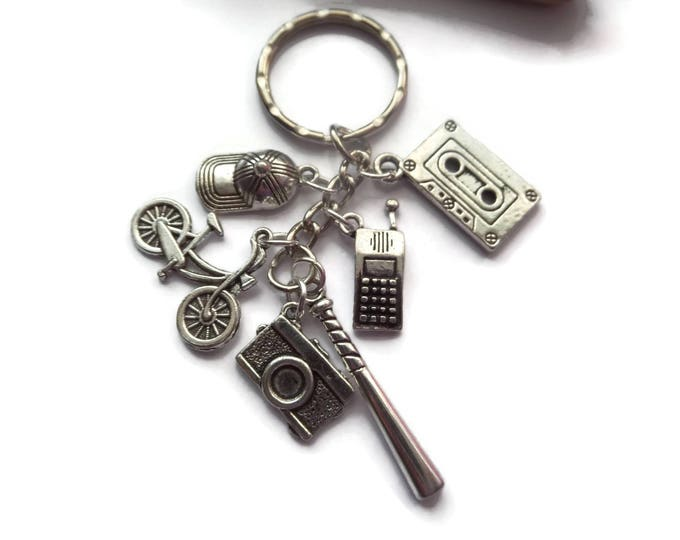 STRANGER THINGS inspired silver 6 charm keyring Will Joyce Eleven Tv fan gift jewellery UK