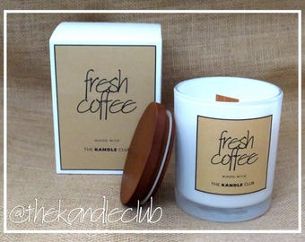 Fresh Coffee: (Large Jar, Wood Wick) Natural Soy Wax Candle