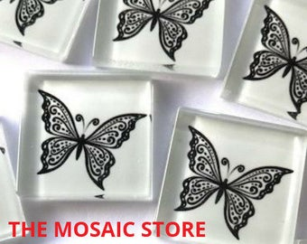 Hand Printed 2.5cm Glass Tiles - Pattern 17