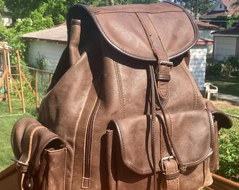 Vintage brown leather back pack / extra large / free shipping