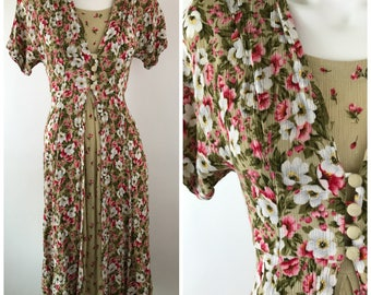 Vintage 90s Floral Midi Dress Romantic Tie Back Hippie Bohemian Festival Gypsy Rayon 5/6 My So Called Life