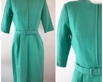 Vintage 50s Knit Sheath Dress Belted Seafoam Green Wool Blend 3/4 Sleeve Womens