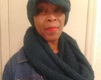 Crocheted brim hat and endless scarf