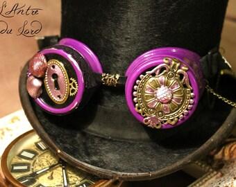 """Goggles steampunk féeriques violettes coquillages """"Le secret de l'océan"""""""