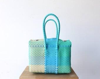 Aqua, Beige & Blue, Handwoven Mexican Tote, Oaxaca Tote, Mexican Plastic Bag, Mexican Basket, Mexican Art, MexiMexi, Picnic Basket