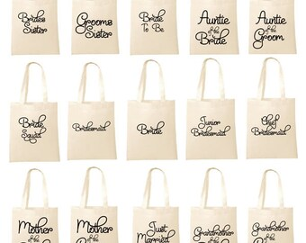 Printed Black Wedding Party Bridal Tote Bags, Bridesmaid, Favour Hen Party Bag