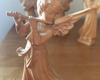 Antique German Carved Natural Wood Angel Playing Flute Musical Instrument | W. u. M Heinzeller Wooden Carved Angel | Vintage Wooden Angel
