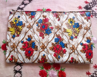 dead stock 60s toilet cosmetic bag, zipper pouch floral wallpaper like print