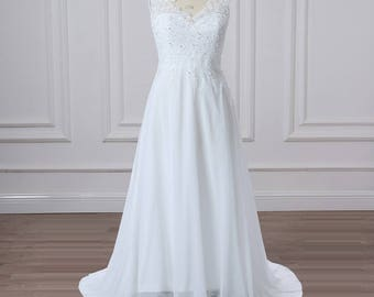Plus Sizes Beach Lace Chiffon V Neckline Sleeveless Beaded Wedding Dress.