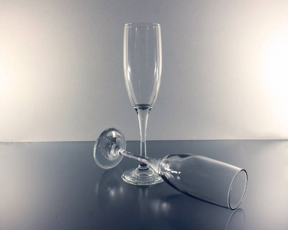 Champagne Flutes, Set of 2, Clear Glass, Heavy, Stemware, Barware