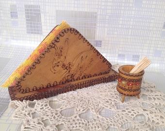Vintage Wooden set of Napkins and Toothpick Holder, 70s Vintage Collectibles, Tableware set, Handmade napkin holder, Folk set, Bulgarian set