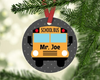 Personalized Bus Driver Aluminum Christmas Ornament