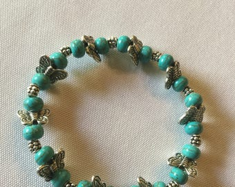 Blue turquoise and silver  butterfly bracelet