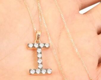 sterling silver letter I necklace