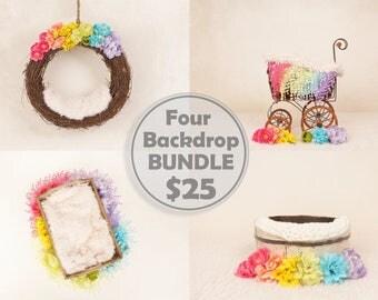 FOUR DIGITAL Newborn Rainbow Backdrops for girls.