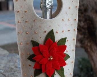 Handmade wine totes-wine felt bags-borse per vino-Christmas present-regalo per Natale fatto a mano in Italy