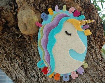Unicorn, Nursery Wall Art, Unicorn Wall Hanging, Unicorn Décor, Unicorn Wool Painting, baby gift Italian handmade