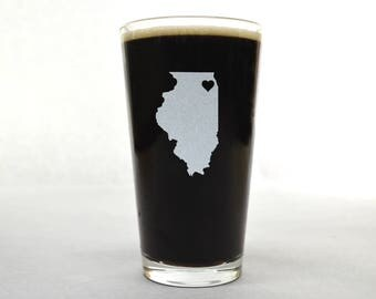 Illinois Beer Glass - State Pint Glass - Pint Glass - Personalized Pint Glass - Etched Pint Glass - Groomsmen Pint Glass