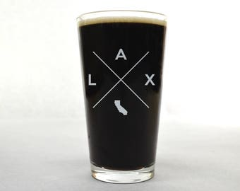 Los Angeles Pint Glass | Los Angeles Glass - Beer Glass - Pint Glass - Beer Glasses - Pint Glasses - Beer Mug - Los Angeles - Custom Pint