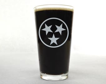 Tennessee Glass. Etched Pint Glass. Beer Gifts.