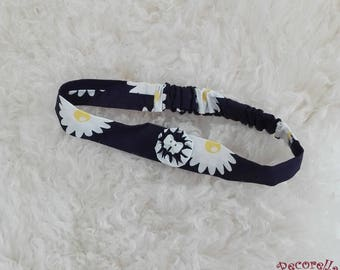 Baby headband in blue navy sunflower