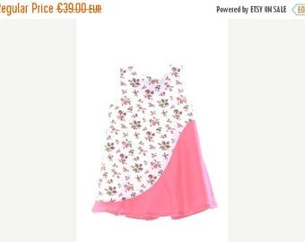 SALE Baby girl summer dress in white flower pink print with godet fuchsia