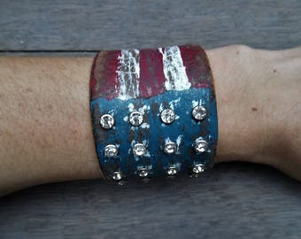Red White Blue American Flag Rhinestones Distressed Upcycled Leather Cuff Bracelet