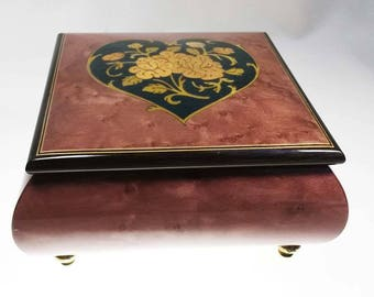Gorgeous Inlaid Italian Burl Wood Reuge Music Box hand crafted in Italy