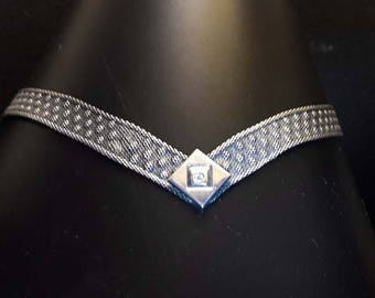 Gorgeous Sterling Silver Mesh Collar Necklace Art Deco