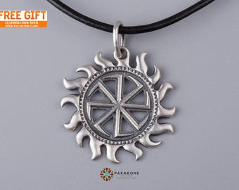 Kolovrat Slavic Symbol of the Sun Amulet Pendant Sterling Silver 000-116