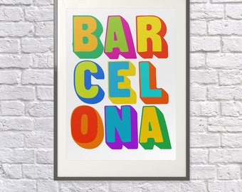 Barcelona Poster -  Barcelona Art  - Barcelona Print - Barcelona Visitor - Barcelona Souvenir - Barcelona Memento - Barcelona Tourist