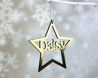 Personalised Christmas Tree Star decoration with Name or Name & Year in Gold, Silver, Glitter Gold and Silver or Wood
