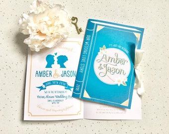 Hermione Book cover Wedding Invitation   Literary Invite   Library Book Wedding Stationary   Book Jacket Invite   Harry Potter Invitation