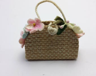 Vintage Barbie Skipper Straw Tote Purse with Flowers | Fashion Pack #923 Accessory